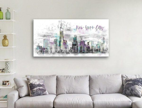 NYC Manhattan Skyline Watercolour Wall Art