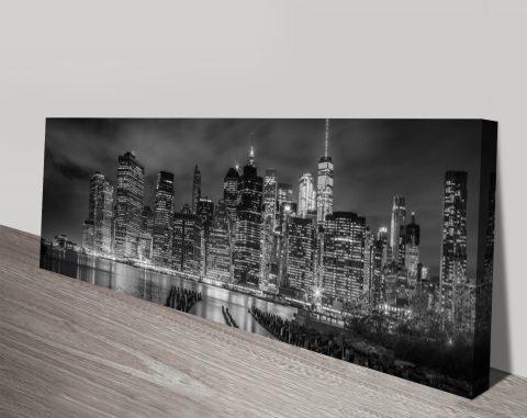NYC Night Impression Panoramic Wall Art