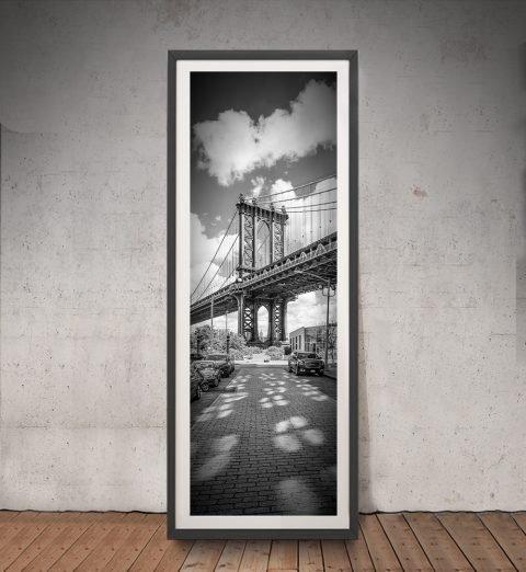 Framed NYC Panoramic Manhattan Bridge Art
