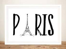 Paris Typography Framed Black & White Print