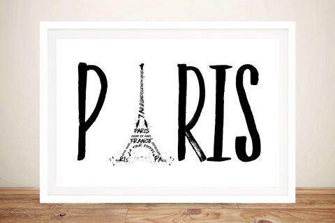 Paris Typography Framed Black & White Print