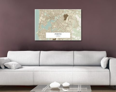 Ready to Hang Map of Perth for Sale AU