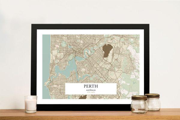 Perth Map on Canvas Unique Home Decor