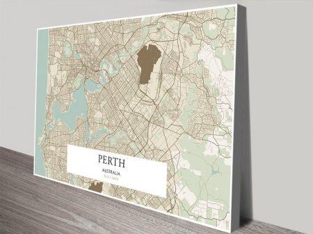 Perth Vintage Detailed Map Canvas Art