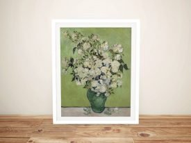 Framed Vase with Pink Roses Van Gogh Print