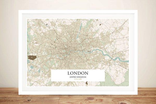 Framed Vintage London Map on Canvas