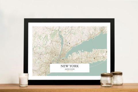 Framed Detailed Retro Map of New York