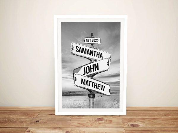 Framed Monochrome Signpost Bespoke Art