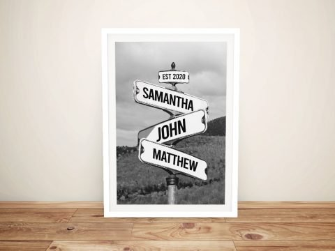 Framed Monochrome Field with Signpost Art