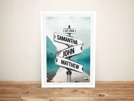 Vintage Effect Lake Scene Signpost Art