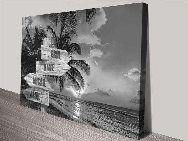Black & White Signpost Tropical Scene Art