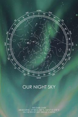 Star Map Aurora Art