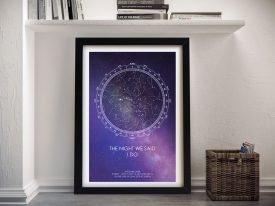 Star Map Purple Framed Wall Art