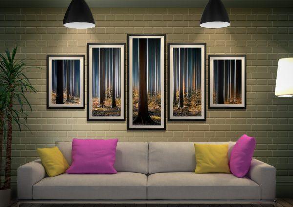 Tall Trees 5-Panel Framed Canvas Art Set