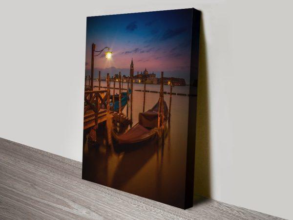 Gondolas During Blue Hour Canvas Artwork