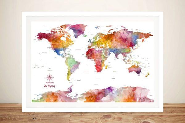 World Map Push Pin Colourful Wall Art