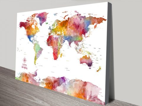 Colourful Bespoke World Maps for Sale