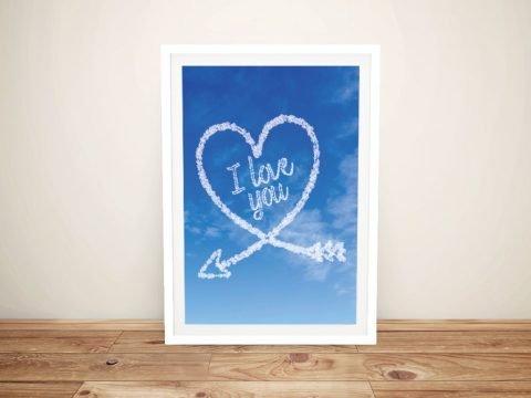 Framed Arrow Heart Cloud Writing Art