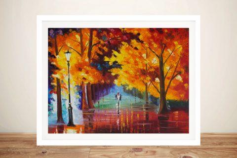 A Walk in the Fall Leaves Landscape Art