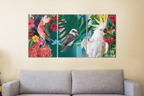 Coast of Eden Colourful Triptych Artwork