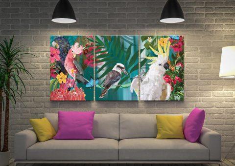 Affordable Australian Birds Triptych Art