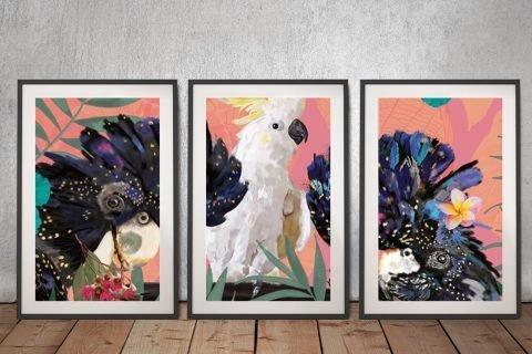 Buy Cocky Black Cockys 3-Panel Art Set
