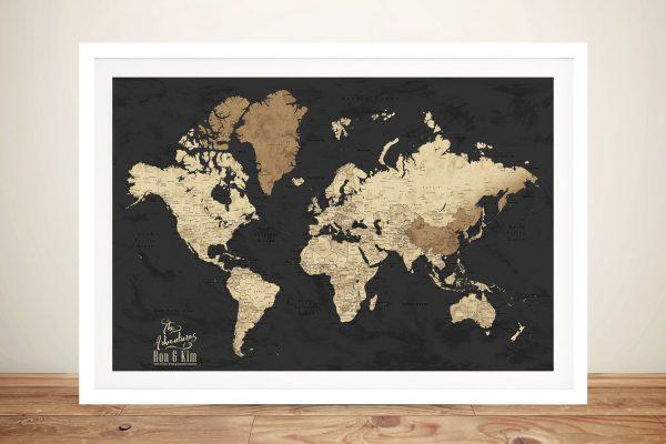 Beige & Black Framed Custom World Map