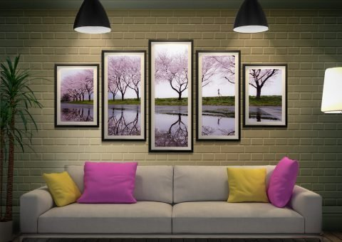 Framed 5-Piece Cherry Blossom Wall Art AU