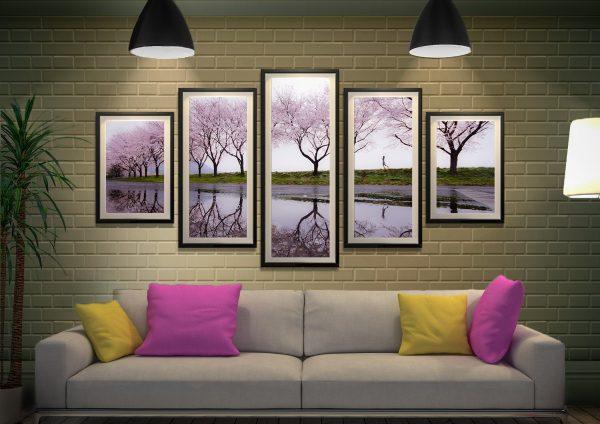Framed 5-Piece Cherry Blossom Wall Art AU
