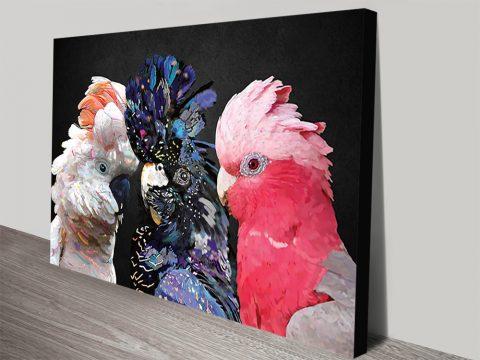 Dance Cocky Aussie Birds Art on Canvas