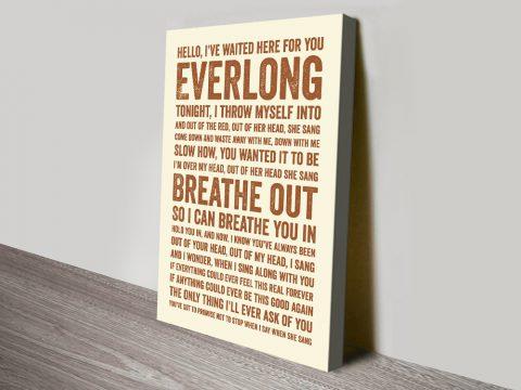 Everlong Song Lyrics Print on Canvas