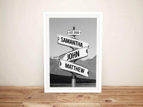 Framed Monochrome Mountain Signpost Print
