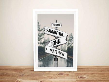 Framed Vintage Scenic Road Signpost Print