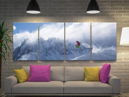 Snowboarder & Mountains Split Panel Art