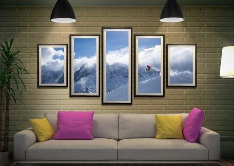 Framed Split Diamond Snowboarder Art Set
