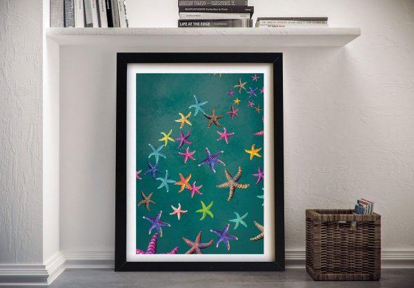 Framed Abstract Star Fish Ready to Hang Art