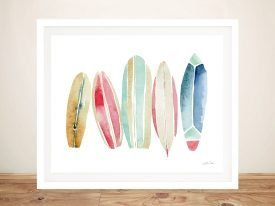 Surfboards in a Row Colourful Wall Art