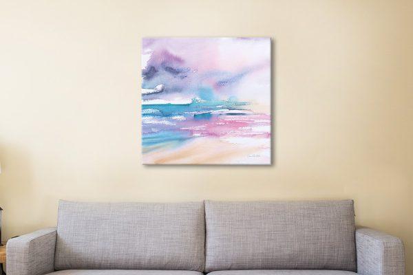 Violet Sky Vivid Seascape Watercolour for Sale