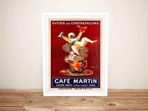 Framed Cafe Martin Vintage Poster Art AU