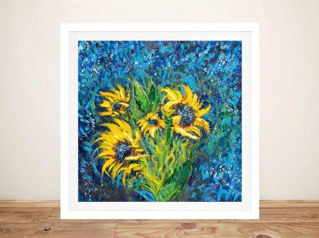 Cosmic Sunflowers Framed Floral Art