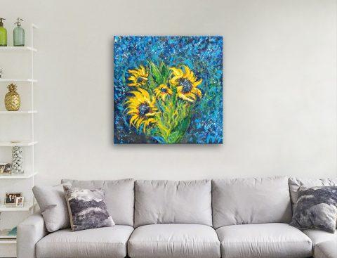 Cosmic Sunflowers Floral Print on Canvas AU
