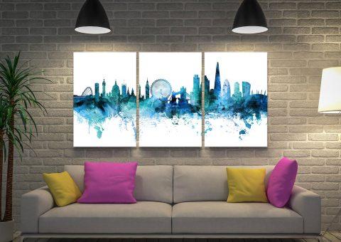 Ready to Hang Blue Skyline 3-Piece Art