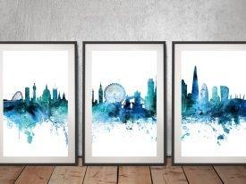 Framed London Skyline Watercolour Triptych