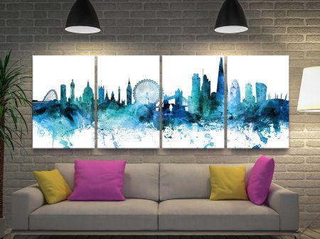 London Skyline 4-Piece Canvas Art Set