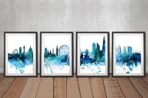 Blue Skyline Split Panel Ready to Hang Art