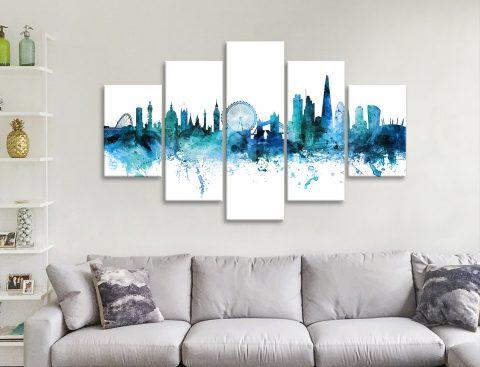 Blue London Skyline 5-Panel Set Gift Ideas AU