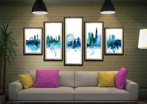 Split Diamond London Skyline Art Set