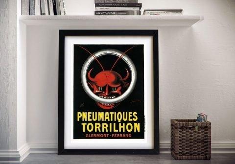 Framed Vintage Red Devil Cappiello Poster