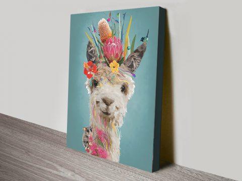 Abstract Llama Cute Animal Wall Art AU