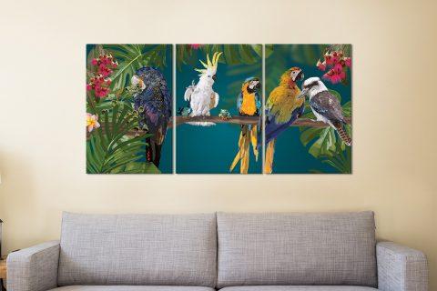 Ready to Hang Aussie Birds Split Panel Art